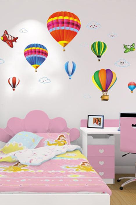 【【简一】多彩热气球墙贴画】-家居-贴饰