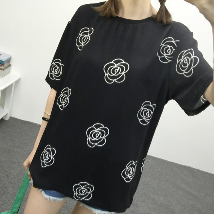 【宽松玫瑰花朵雪纺t恤】-衣服-服饰鞋包
