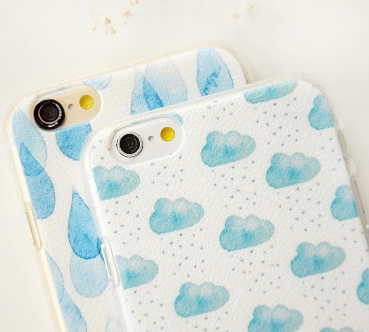小力森系雨滴雨云苹果手机壳
