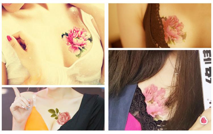 【高端】纹墨轩个性玫瑰牡丹花防水纹身贴