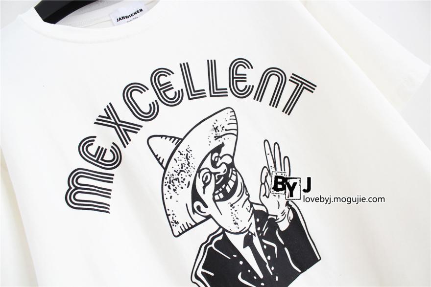 韩版卡通人头像印花短款t恤