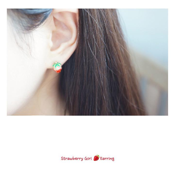超萌小清新可爱甜美立体草莓耳钉