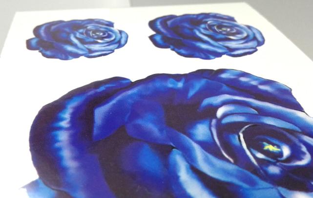蓝色妖姬蓝玫瑰 肩背胸臂彩色纹身贴防水女款