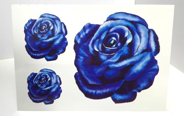 【纹墨轩手绘蓝色妖姬蓝玫瑰纹身贴【单张】】-配饰图片