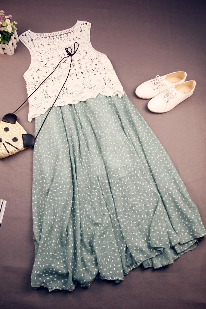 【森系 小清新花朵棉麻半身长裙】-衣服-半身裙