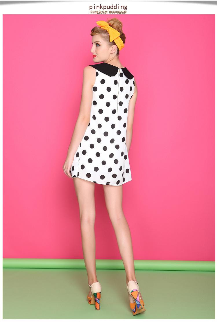 【可爱娃娃领 波点连衣裙】-衣服-裙子_连衣裙_服饰鞋
