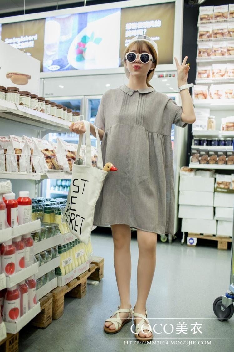 韩国 可爱娃娃领连衣裙