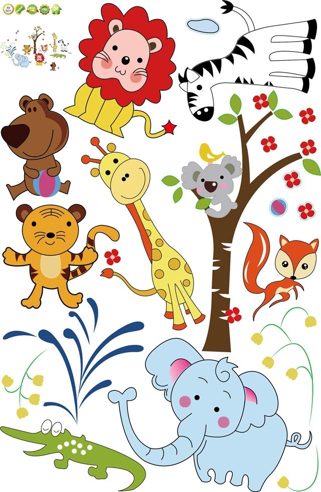 【可爱卡通动物世界贴纸墙贴】-家居-贴饰