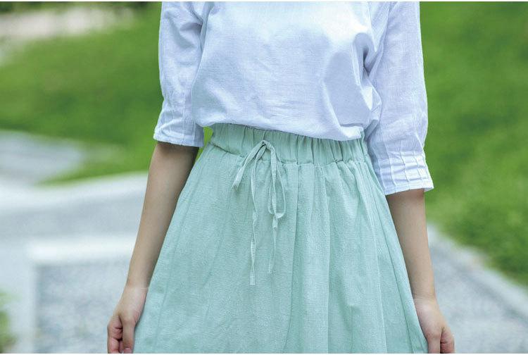 【系带纯色棉麻半身裙】-衣服-半身裙_裙子_女装_服饰
