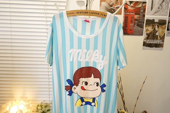 【可爱娃娃蕾丝条纹少女睡裙】-内衣-女士内衣/家居