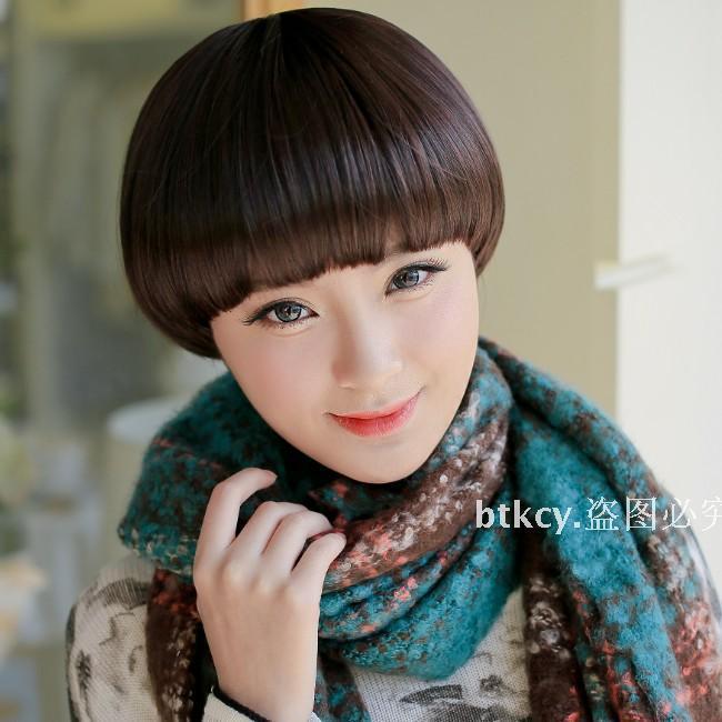 【可爱假发女生短发蘑菇头bobo头香菇头发型黑色棕色