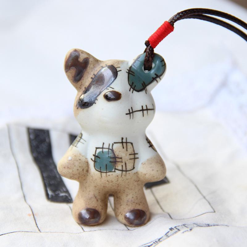 以瓷换米 纯手绘补丁熊包包挂