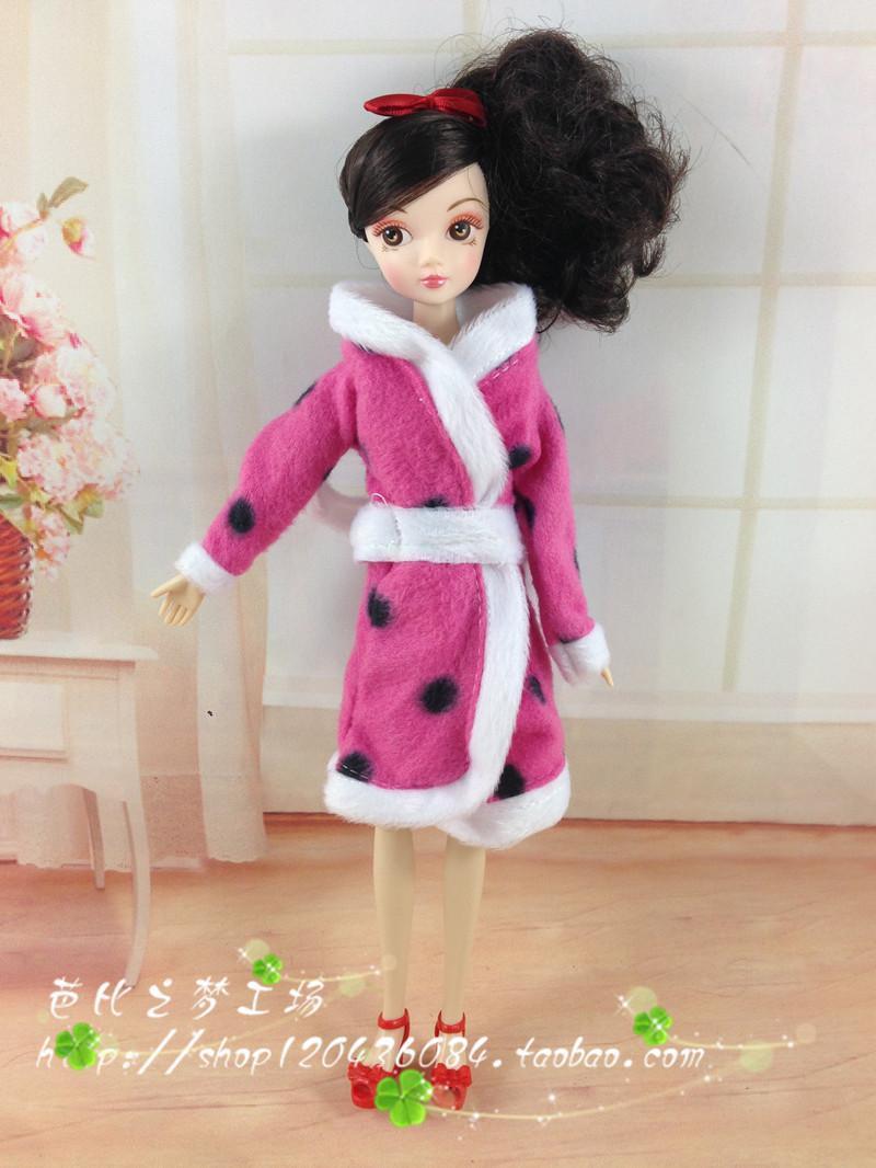 正版芭比娃娃barbie6分娃娃衣服 浴袍睡衣 毛巾睡衣外套 满包邮