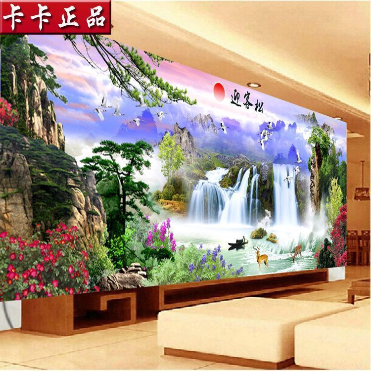 5d魔方钻石画流水生财客厅风景