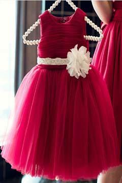 红色儿童礼服裙 童装公主裙 花童礼服 演出服纱裙 婚纱裙