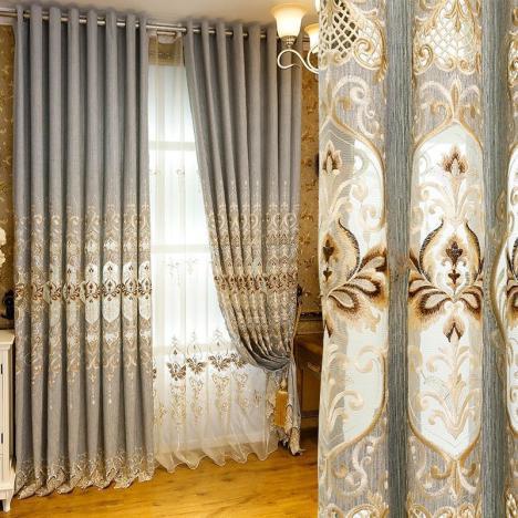 【高档提花欧式窗帘布现代客厅卧室】-家居-家居建材