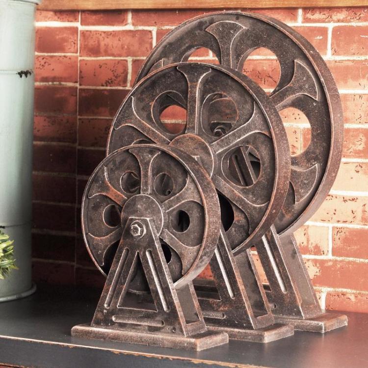 【工业风齿轮创意木头摆件欧式家居复古软装饰品摆设