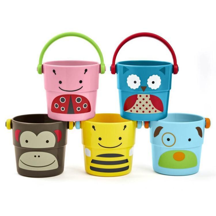 彩色堆叠花洒戏水卡通动物浴室玩具