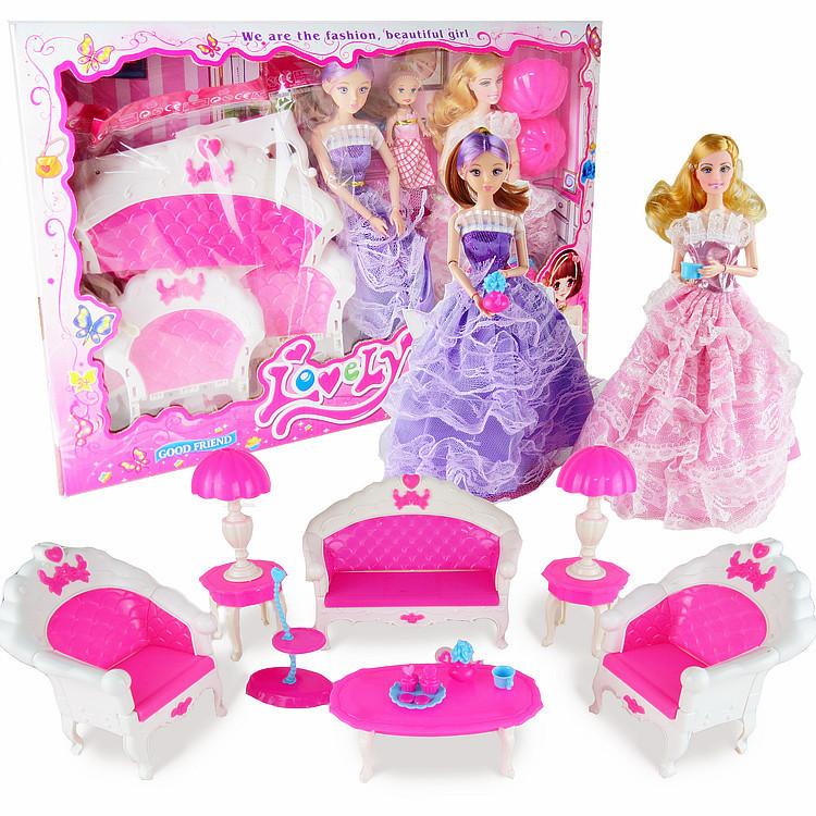 芭比甜甜屋芭比娃娃套装玩具带沙发儿童过家家玩具套装