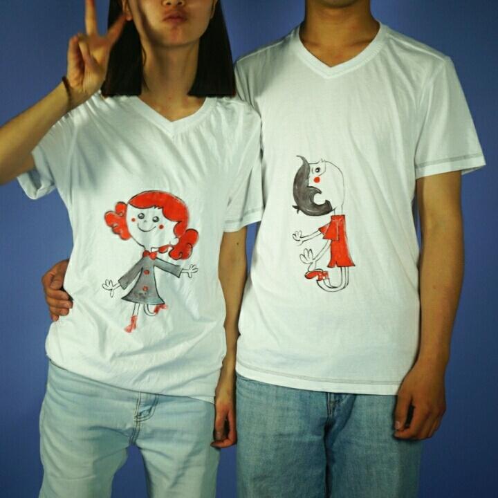 纯手绘t恤,情侣装,创意情侣文化衫