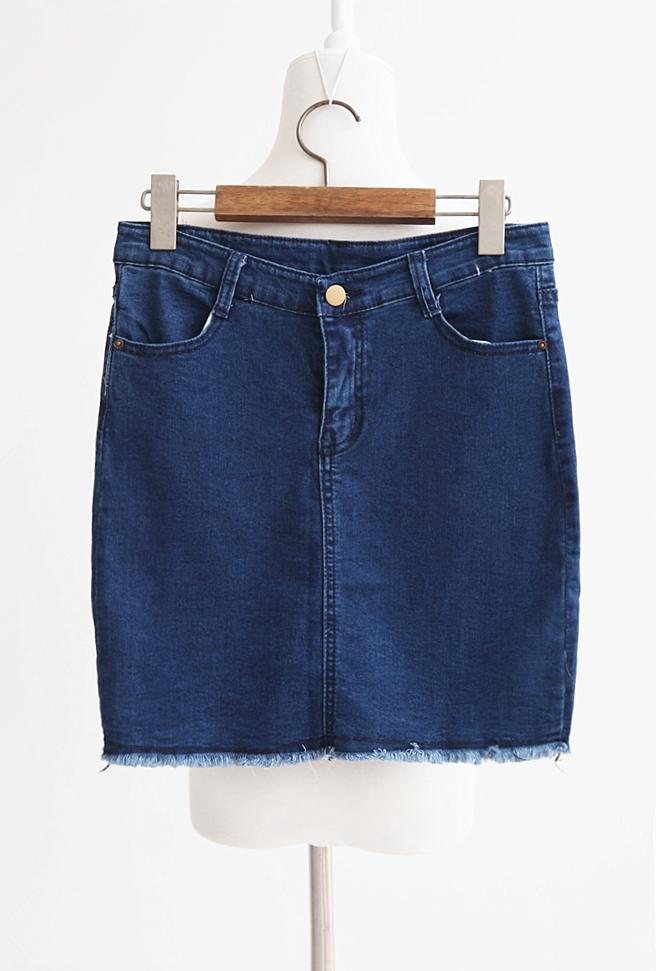 【韩式高腰深蓝色牛仔裙】-衣服-半身裙