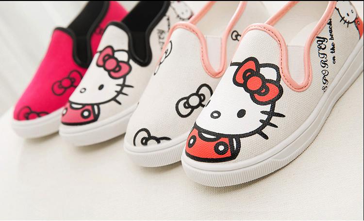 可爱kitty猫女童帆布鞋