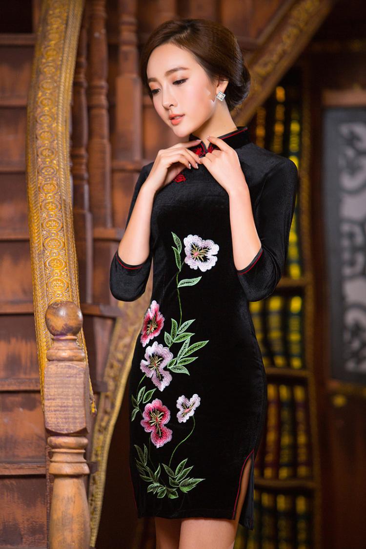 复古古典长袖金丝绒旗袍裙