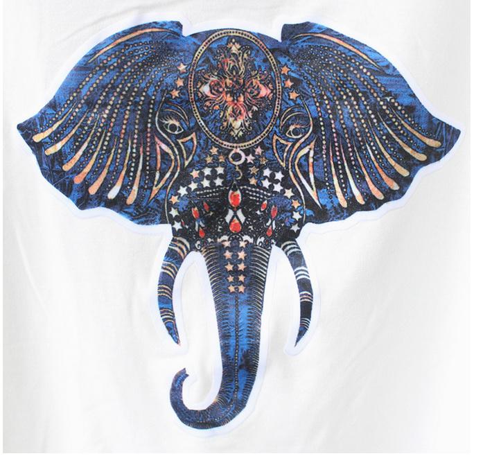 大象印花t恤 花纹半身裙套装
