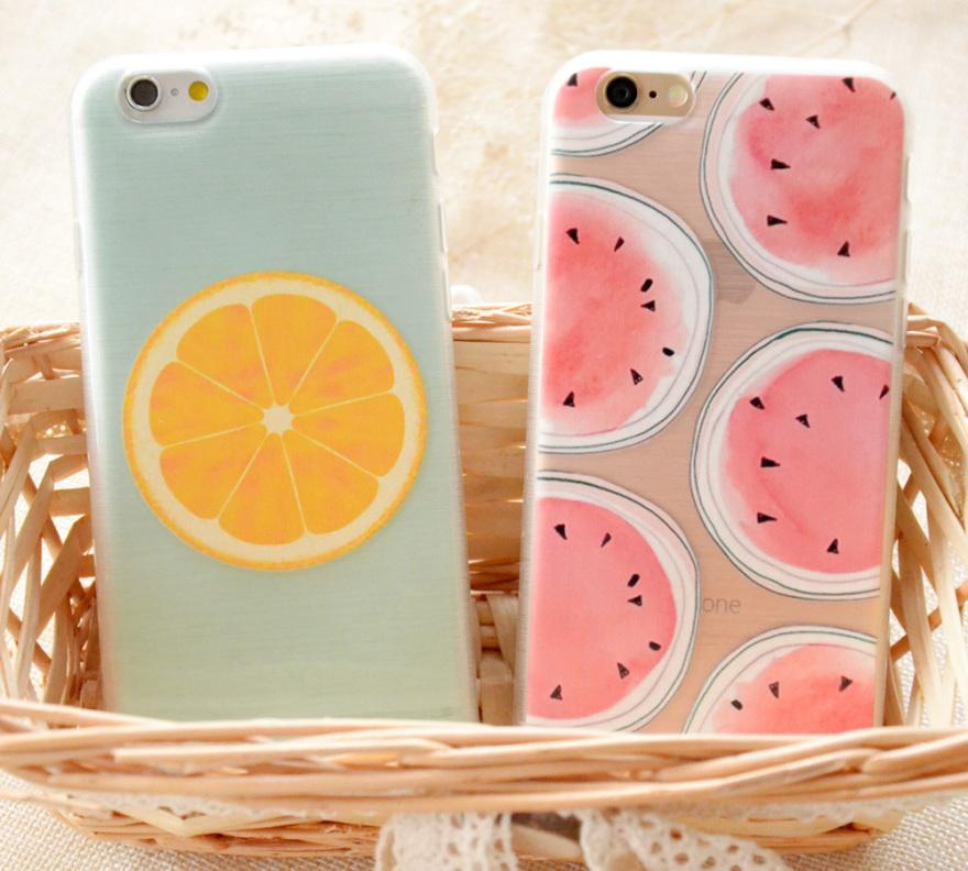 小力清新水果西瓜柠檬硅胶手机壳