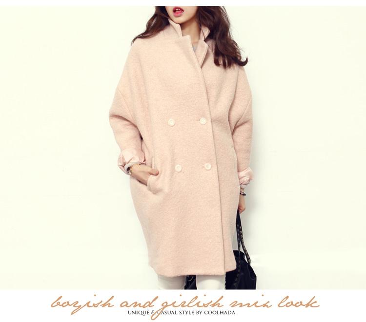【2015新款韩版冬春秋款中长茧型羊毛大衣毛呢外套