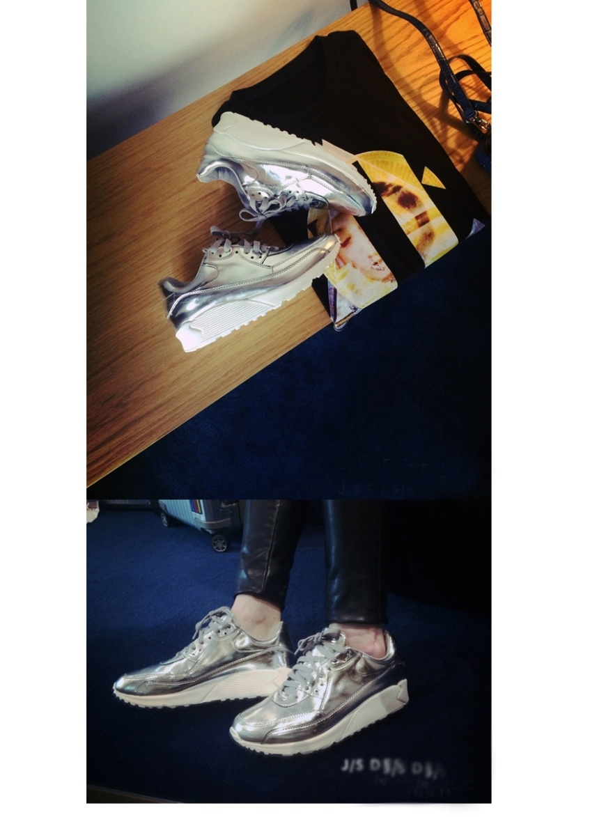 欧美金�yil�/&9�)�d)_欧美金银色潮流时尚厚底运动鞋