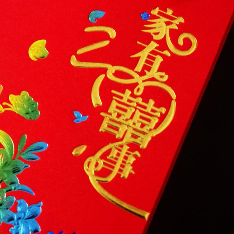 【太喜婚礼用品中式红色个性创意高档喜庆三折式结婚