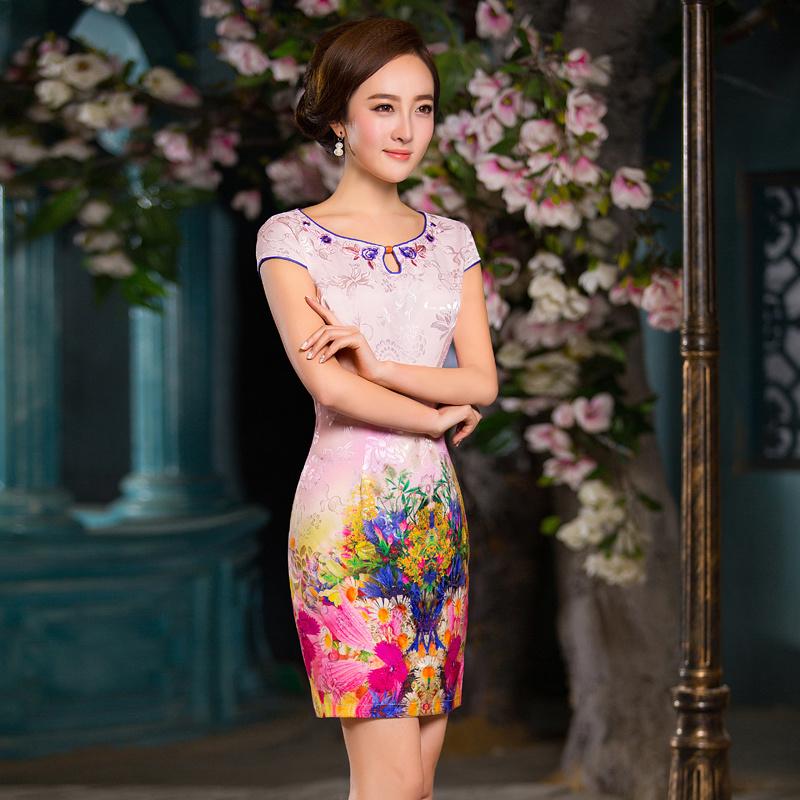 中式改良短款旗袍裙