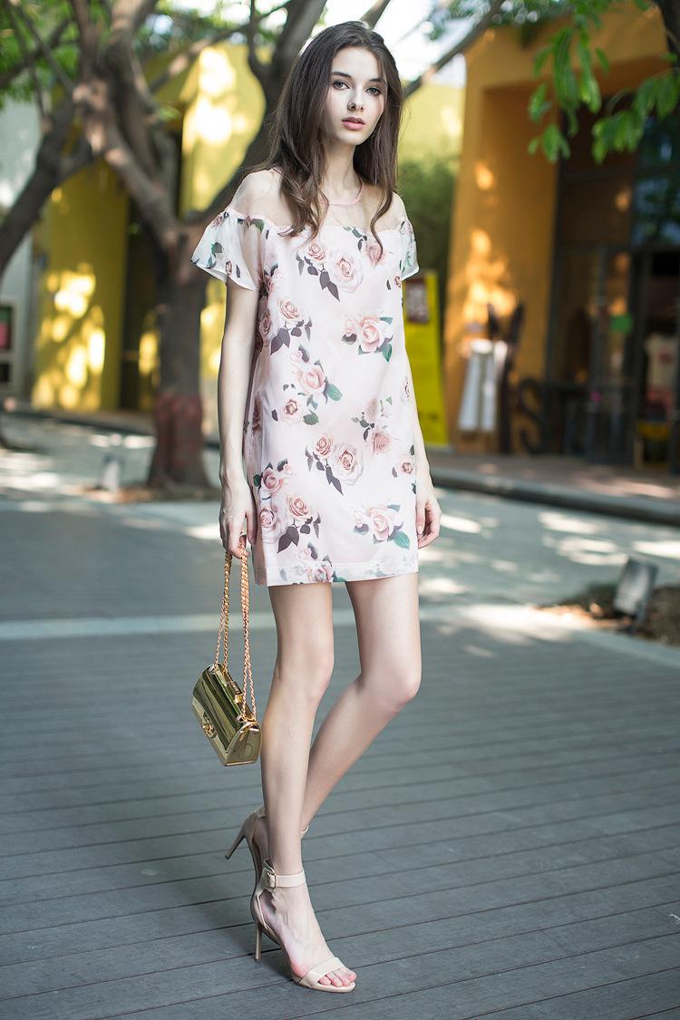 【玫瑰花雪纺连衣裙】-衣服-裙子
