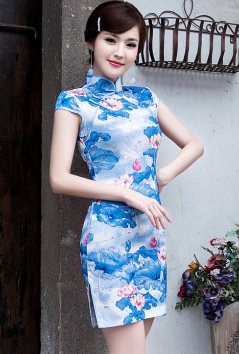 【气质莲花印花 修身旗袍】-衣服-婚纱/礼服/旗袍