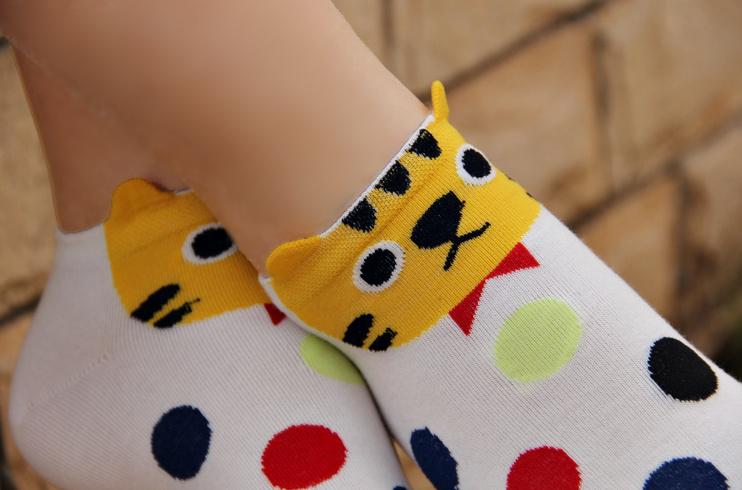 5双装韩版新款卡通棉袜女袜 韩国立体创意可爱娃娃短款袜子