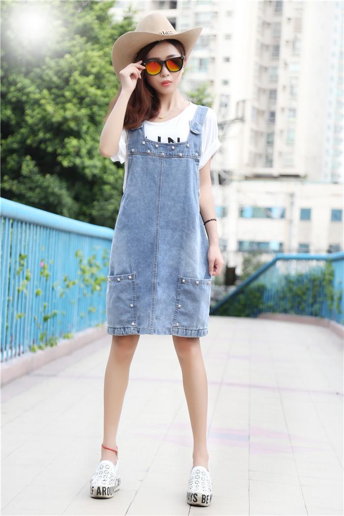 韩版新款牛仔铆钉背带裙