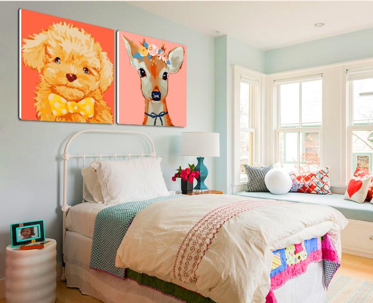 【儿童卡通可爱动物手工diy数字油画】-家居-其他