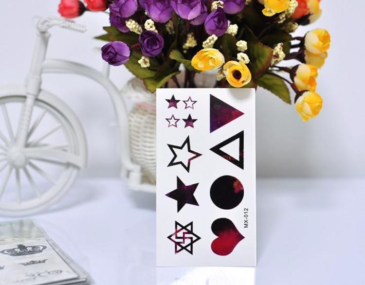韩国原宿纹身贴 爱心 五角星 六芒星三角形彩色防水纹身贴男女