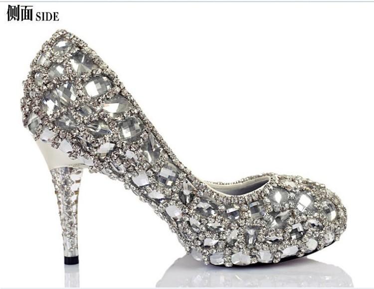 女士高跟单鞋女款水晶钻石高跟鞋新娘水晶钻石鞋宴会礼服高跟鞋 高级