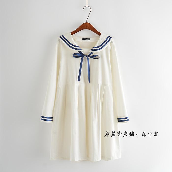 【飘带蝴蝶结海军风长袖连衣裙】-衣服-裙子_连衣裙