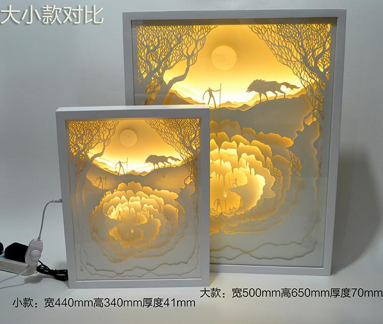 定制3d 镂空立体纸雕装饰画 狼图腾 创意纸艺 夜灯 礼物
