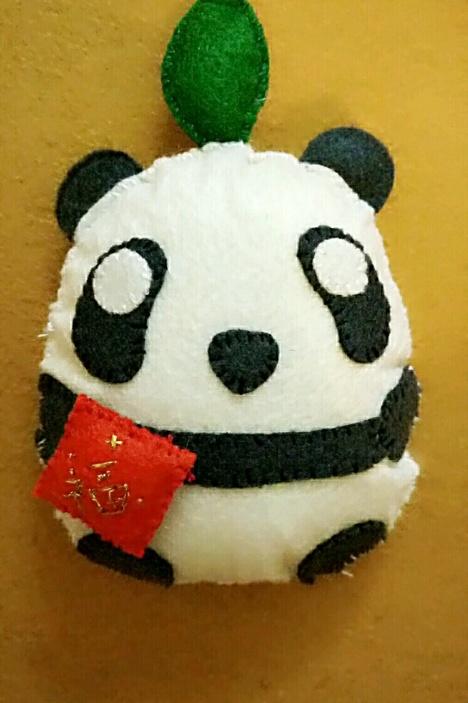不织布手工 送福可爱小熊猫 挂饰
