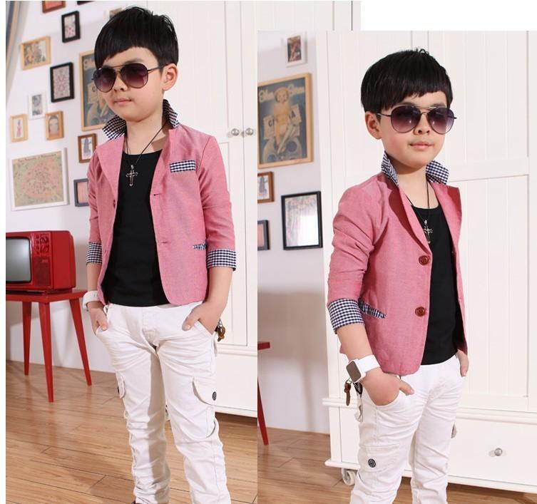 2015男童纯色西装 春秋款儿童立领长袖小外套西服外套开衫