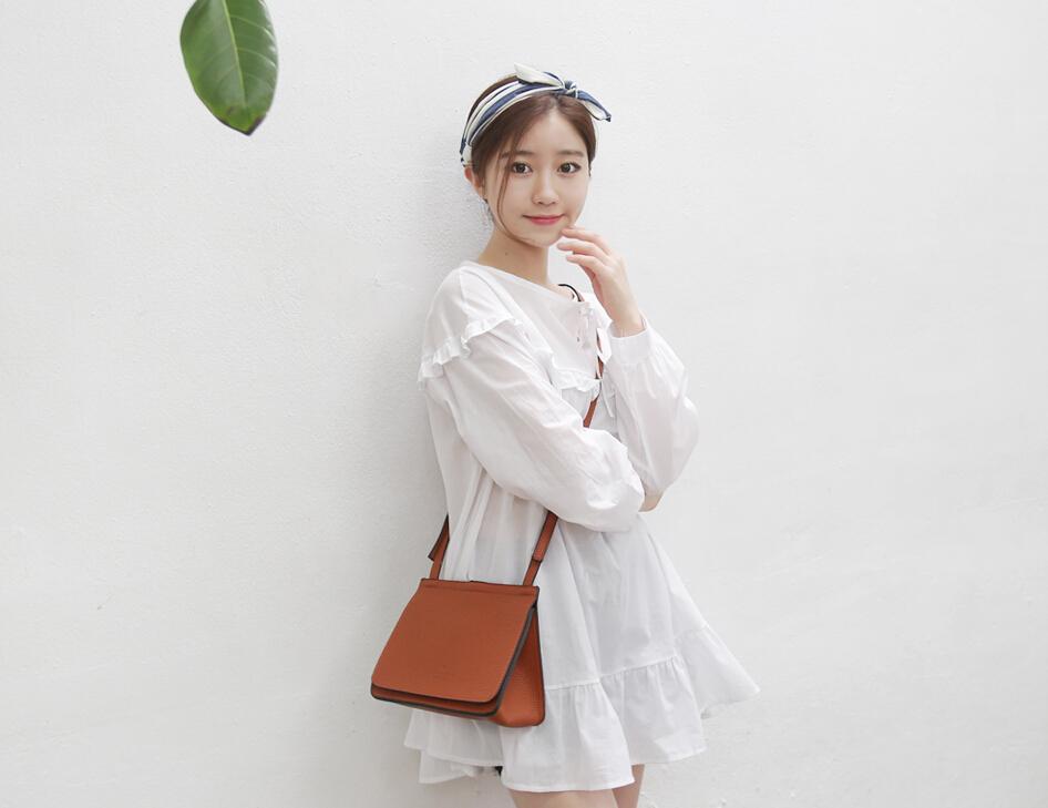 小清新可爱娃娃长袖超短连衣裙