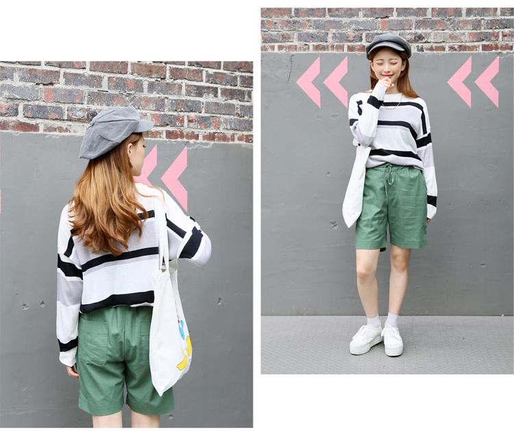 【韩国闺蜜装条纹宽松针织毛衣】-衣服-毛衣
