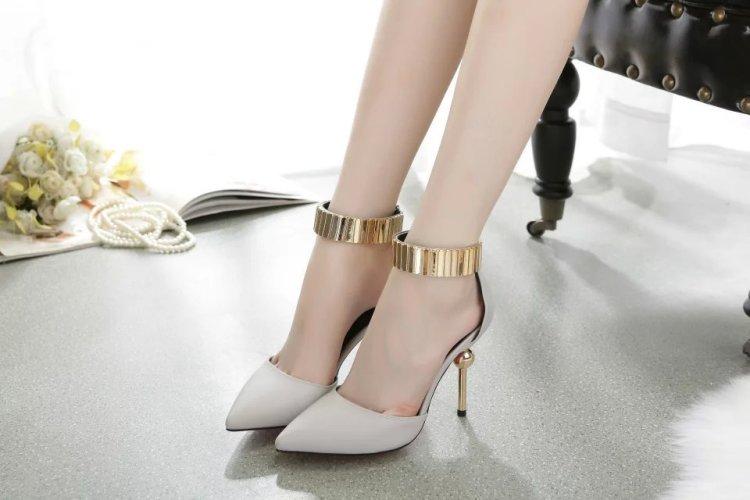 【韩版一字扣高跟尖头高跟鞋】-鞋子-单鞋
