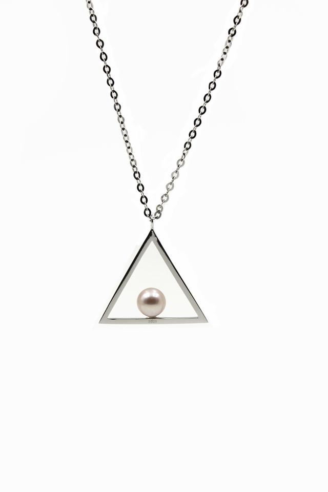 壹克网 中国设计师twoone 925银三角形珍珠项链