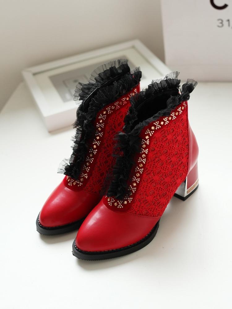 【韩版蕾丝花边尖头靴子】-鞋子-靴子