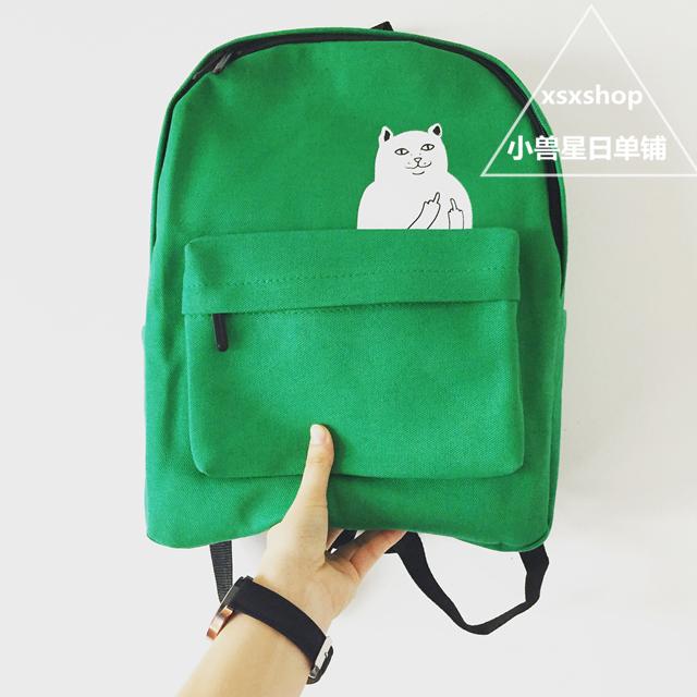 【【小四月】搞怪中指猫双肩包】-箱包皮具/女包/男